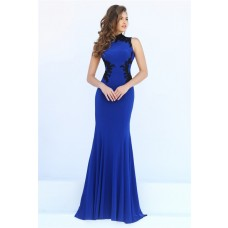 Mermaid Hight Neck Sheer Back Royal Blue Jersey Black Lace Evening Prom Dress