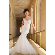 Mermaid Illusion Cap Sleeve Tulle Beaded Wedding Dress With Low Back