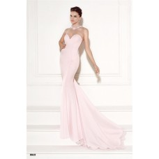 Mermaid Illusion Neckline Light Pink Satin Lace Evening Prom Dress With Bows