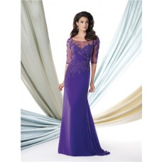 Mermaid Illusion Neckline Purple Chiffon Lace Beaded Mother Of The Bride Evening Dress