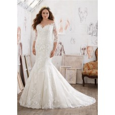 Mermaid Illusion Neckline Three Quarter Sleeve Lace Plus Size Wedding Dress