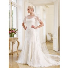 Mermaid Illusion Neckline Tulle Lace Applique Wedding Dress Sheer Sleeves