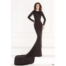 Mermaid Low Back Long Sleeve Black Jersey Beaded Evening Dress With Train