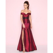 Mermaid Off The Shoulder Burgundy Taffeta Beaded Belt Prom Dress With Slit