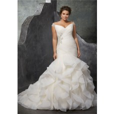 Mermaid Off The Shoulder Organza Ruffle Plus Size Wedding Dress Corset Back