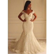 Mermaid Off The Shoulder Vintage Lace Wedding Dress With Chapel Train