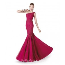 Mermaid One Shoulder Fuchsia Tulle Lace Long Evening Prom Dress