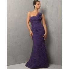Mermaid One Shoulder Long Lavender Purple Chiffon Evening Dress With Flowers