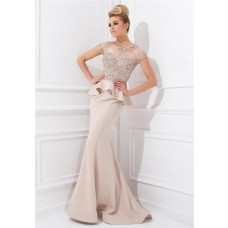 Mermaid Scoop Neck Cap Sleeve Champagne Chiffon Beaded Peplum Long Evening Dress