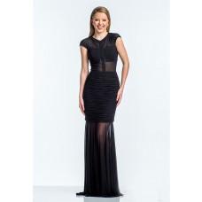 Mermaid Scoop Neck Cap Sleeve Long Black Chiffon Ruched Evening Prom Dress