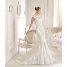 Mermaid Scoop Neck V Back Cap Sleeves Fracne Lace Wedding Dress