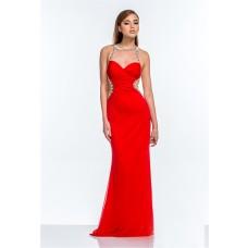 Mermaid Sheer Illusion Neckline Open Back Long Red Evening Prom Dress