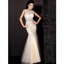 Mermaid Sleeveless Long Champagne Nude Tulle Lace Beading Evening Dress