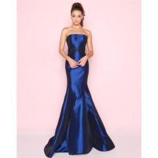 Mermaid Strapless Beaded Belt Royal Blue Taffeta Evening Prom Dress