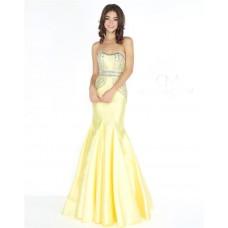 Mermaid Strapless Curve Neckline Lemon Yellow Satin Beaded Prom Dress