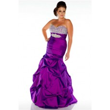 Mermaid Strapless Long Purple Taffeta Beaded Plus Size Evening Prom Dress