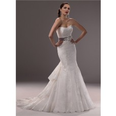 Mermaid Strapless Scoop Neck Lace Wedding Dress Tiered Train With Sash