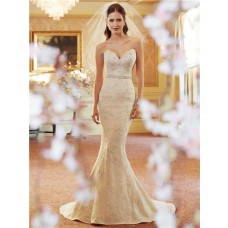 Mermaid Strapless Sweetheart Corset Back Lace Beaded Wedding Dress With Crystal Pearl Belt