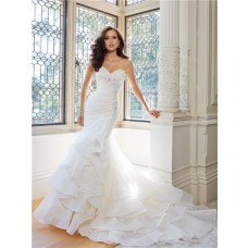 Mermaid Strapless Sweetheart Neckline Layered Organza Ruffle Crystal Wedding Dress Corset Back