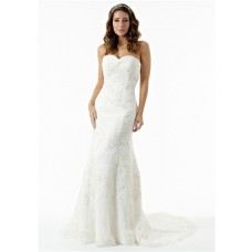 Mermaid Strapless Sweetheart Tulle Lace Beaded Corset Wedding Dress Sweep Train