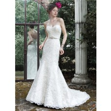 Mermaid Strapless Sweetheart Vintage Lace Wedding Dress With Crystals Belt