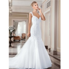 Mermaid Sweetheart Backless Tulle Lace Wedding Dress With Cap Sleeve Straps