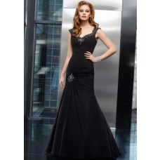 Mermaid Sweetheart Black Chiffon Beaded Formal Occasion Evening Dress With Straps