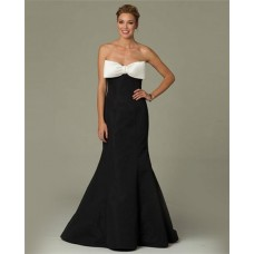 Mermaid Sweetheart Black Taffeta Prom Evening Dress With White Bow