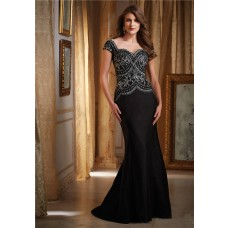 Mermaid Sweetheart Cap Sleeve Black Satin Embroidery Special Occasion Evening Dress