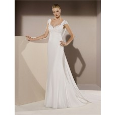Mermaid Sweetheart Cap Sleeve Cowl Open Back Chiffon Lace Wedding Dress Sweep Train