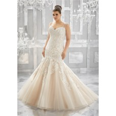 Mermaid Sweetheart Champagne Tulle Lace Plus Size Wedding Dress With Spaghetti Straps