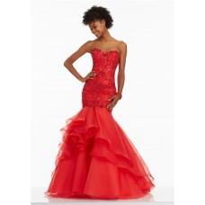 Mermaid Sweetheart Corset Back Red Organza Ruffle Beaded Prom Dress