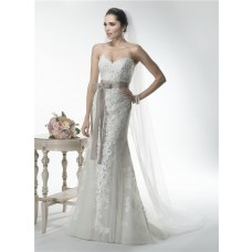 Mermaid Sweetheart Detachable Cap Sleeve Venice Lace Applique Wedding Dress With Sash
