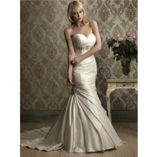 Mermaid Sweetheart Empire Waist Ruched Satin Wedding Dress With Beading Crystal