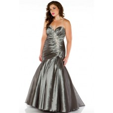 Mermaid Sweetheart Floor length Grey Taffeta Beaded Evening Prom Dress Plus Size