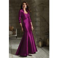 Mermaid Sweetheart Fuchsia Satin Ruched Evening Dress With Bolero Jacket