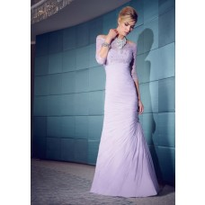 Mermaid Sweetheart Lavender Chiffon Ruched Evening Dress With Three Quarter Sleeves Lace Jacket
