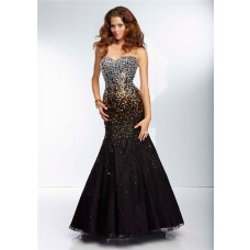Mermaid Sweetheart Long Black Organza Silver Gold Ombre Beaded Prom Dress Corset Back