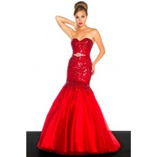Mermaid Sweetheart Long Red Tulle Sequined Prom Dress With Beading Sash