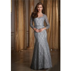 Mermaid Sweetheart Long Sleeve Silver Lace Beaded Formal Occasion Evening Dress With Sash