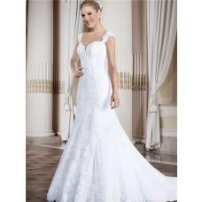 Mermaid Sweetheart Low Back Cap Sleeve Straps Vinatge Lace Wedding Dress