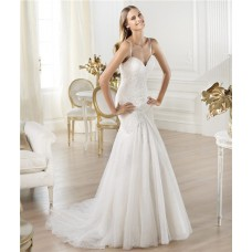 Mermaid Sweetheart Neckline Lace Tulle Wedding Dress With Spaghetti Straps
