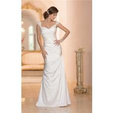 Mermaid Sweetheart Open Back Satin Ruched Wedding Dress With Lace Straps