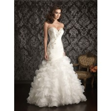 Mermaid Sweetheart Organza Ruched Ruffles Wedding Dress With Beading Crystals