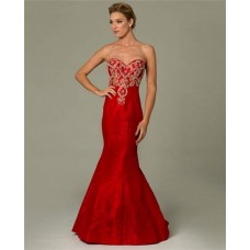 Mermaid Sweetheart Red Taffeta Gold Embroidered Occasion Evening Dress