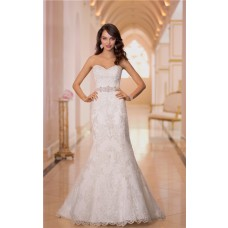 Mermaid Sweetheart Satin Lace Beaded Crystal Wedding Dress With Buttons