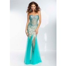 Mermaid Sweetheart Sheer See Through Corset Bodice Long Aqua Tulle Beaded Prom Dress
