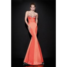 Mermaid Sweetheart Spaghetti Strap Open Back Coral Satin Evening Prom Dress With Bow