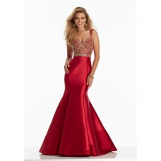 Mermaid Sweetheart Spaghetti Strap Ruby Satin Gold Beaded Prom Dress