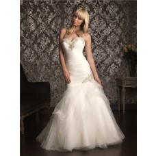 Mermaid Sweetheart Tulle Ruched Beaded Wedding Dress Lace Up Back